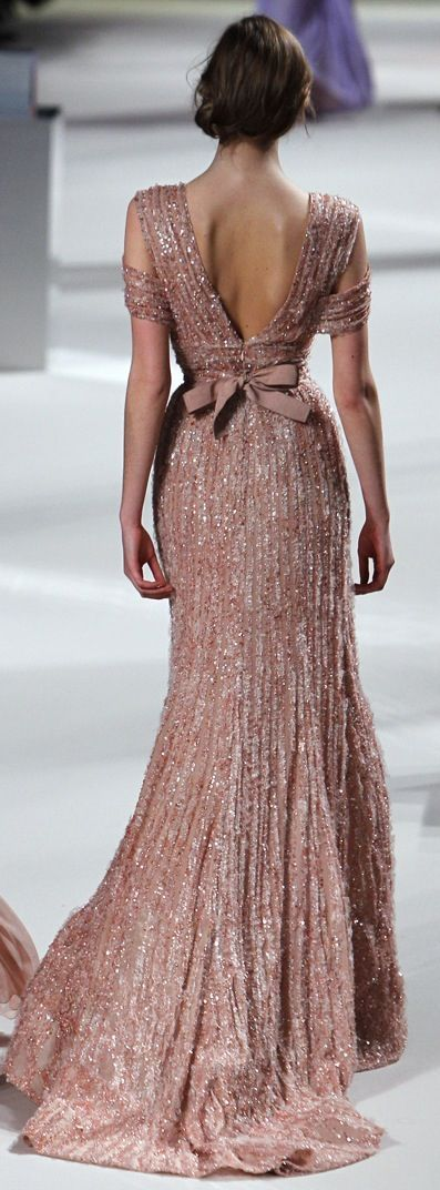 Elie Saab Rose Gold Wedding Bridesmaid Dress With Sequins