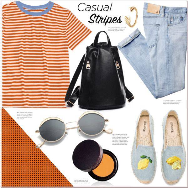 casual stripes by mycherryblossom on Polyvore featuring Soludos and Laura Mercier