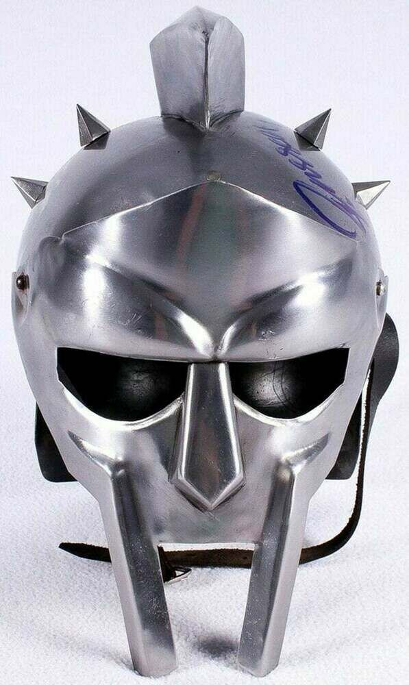 Steel Gladiator Helmet Face Mask with Leather Strips for Halloween
