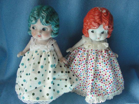 Paire de poupées en porcelaine de couleur vive cheveux par marci922