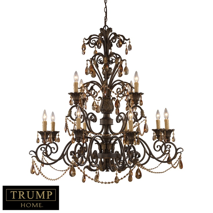 Elk 3345 8 4 Trump Home 12 Light Chandelier With Amber Crystal