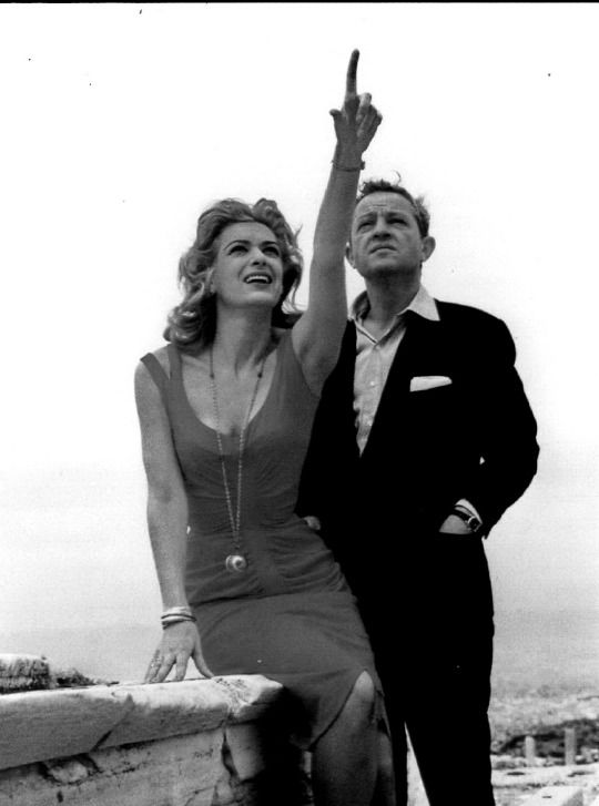 "Melina Mercouri with Jules Dassin on the Acropolis between the movie ""Never on Sunday"""