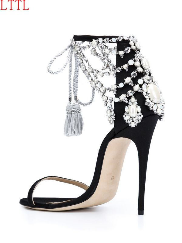 2017 New Arrival Wedding Party Summer Dress Shoes Women Open Toe High Heel Sandals Luxury Crystal Embellished Ankle Strap Sandal #Affiliate