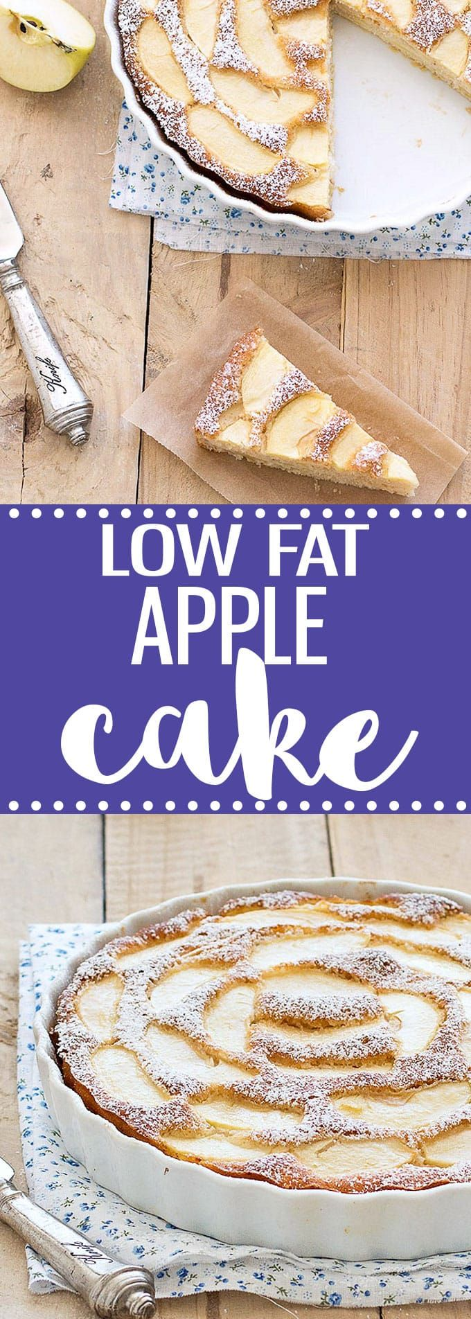 This easy low-fat apple cake is super moist, flavorful and delicious! Only 116 calories per slice. via @easyasapplepie