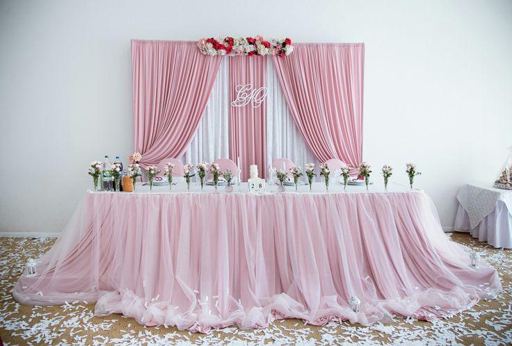 """Wedding decor.  Wedding table decor.  Wedding flowers.  Rose quartz.  Wedding backdrop.  Sweet decor.  Нежный свадебный декор.  Нежный задник молодоженов . Стол молодоженов.  Розовый кварц.  Свадебный стол.  Свадебный декор.  Одна ваза - один цветок.    Работа агентства """"Сказала Да"""" (Skazala_da),  Одесса."""
