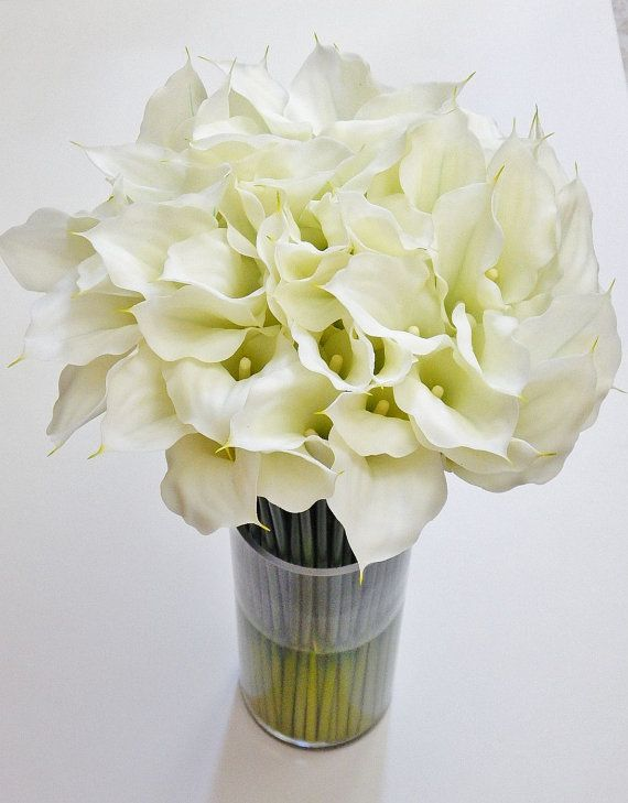 Large/tall silk modern floral arrangement calla by RealisticBlooms