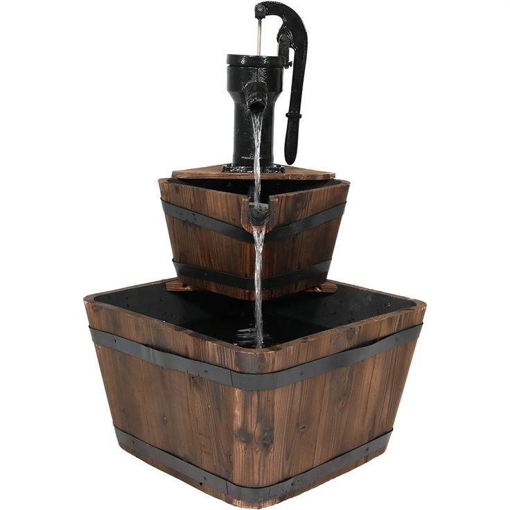Sunnydaze Rustic Wooden Bucket Outdoor Garden Water Fountain, 34 Inch Tall, Includes Electric Submersible Pump, Brown (Iron), Outdoor Décor