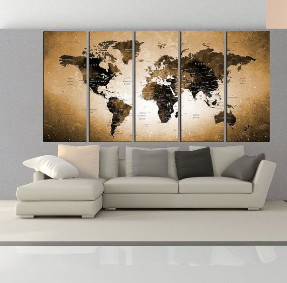 Canvas prints add a unique touch to your home. Modern, stylish and unique design will be the most special piece of your decor. Especially for those who like abstract works, black and white acrylic painting can be prepared in desired sizes  blue world map canvas print Push Pin travel map wall art, watercolor world map push pin with countries interior decor for large wall No:6S08  i designed the watercolor map on photoshop. you will receive high resulation canvas print   ◆ GALLERY WRAPPED…