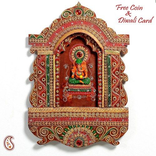 Elaborate Jharokha with Ganesh in wood and clay - Online Shopping for Diwali Pooja Accessories by Apno Rajasthan