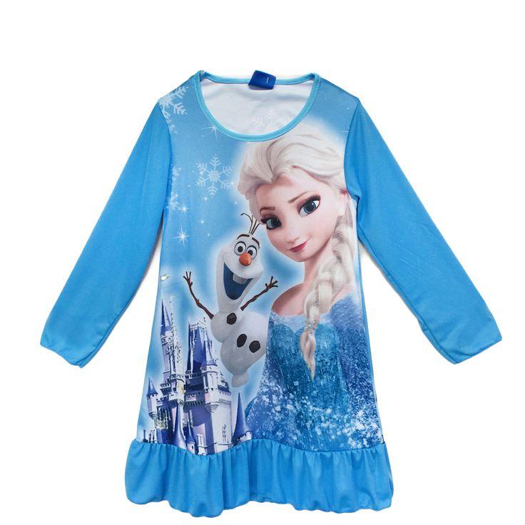 Зима мультфильм принцесса эльза принцесса софия покемон идти ночная рубашка с длинным рукавом новорожденных девочек одеваться на 4-10 лет #shoes, #jewelry, #women, #men, #hats
