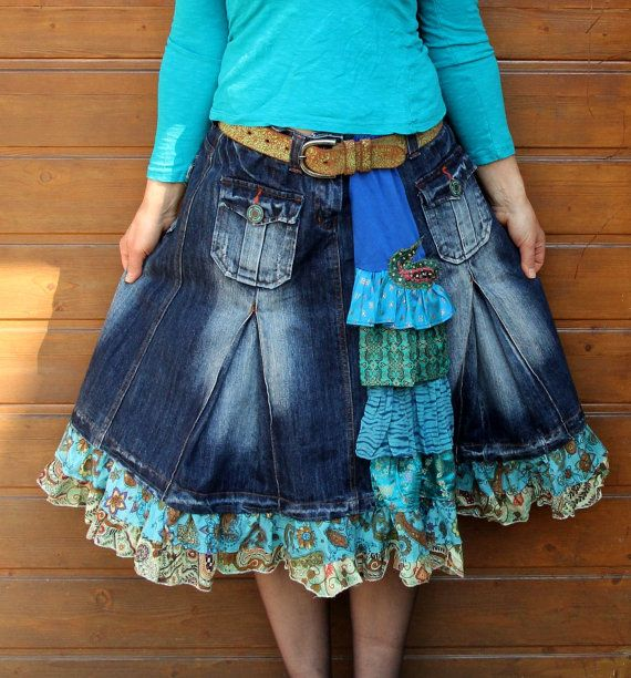 Blue denim jeans and India sari recycled skirt by jamfashion