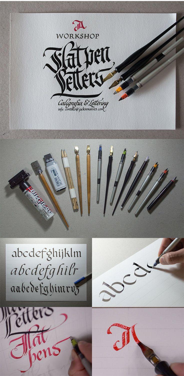 Flat pen Letters - Workshop about custom lettering ( https://www.behance.net/gallery/14920031/Workshop-Flat-pen-Letters )