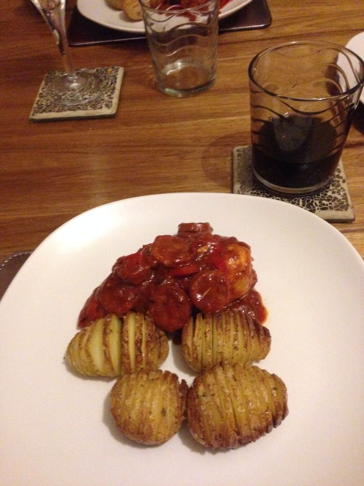 Mel's tasty chicken and chorizo with hassle back potatoes.