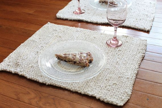 Simple and fresh, our matching white #placemats make the perfect backdrop for your favorite placesettings, whether bold and colorful Fiestaware, elegant china, or sparkly glass. White & Cream Placemats Knitted Artisan by HandiworkinGirls