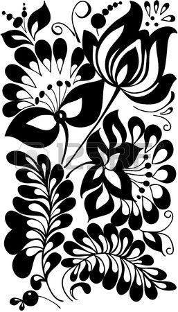 black and white flowers and leaves  Floral design element in retro style photo