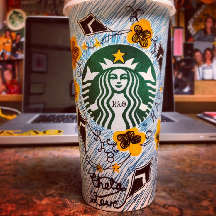 Kites and pansies to brighten your coffee cup. Grab the markers, Thetas! | Kappa Alpha Theta #theta1870
