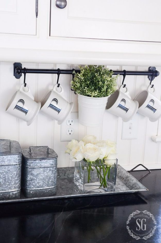 DIY Farmhouse Style Decor Ideas for the Kitchen - Functional And Fabulous Kitchen Rack - Rustic Farm House Ideas for Furniture, Paint Colors, Farm House Decoration for Home Decor in The Kitchen - Wall Art, Rugs, Countertops, Lights and Kitchen Accessories http://diyjoy.com/diy-farmhouse-kitchen