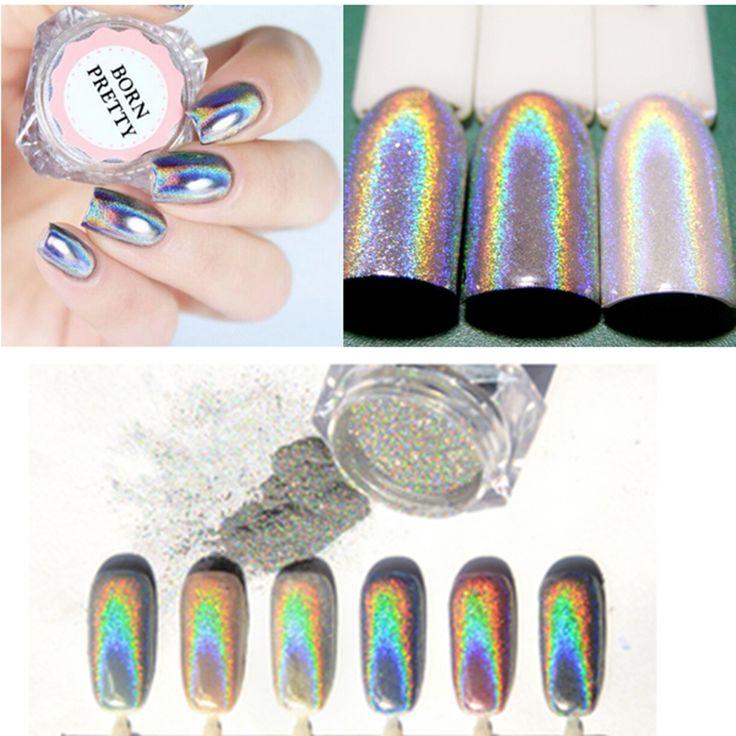 0.5g/Box Holographic Laser Rainbow Nail Glitter Powder Nail Chrome Pigment Glitter Powder Manicure Nail Art Glitter Decoration