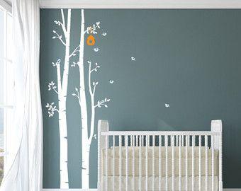 Birches and Owl Wall Decal for Nursery Nursery Wall por evgieNev