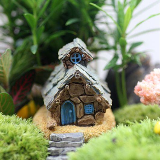 Venta al por menor 4 diseños shabby cottage casa miniaturas miniatura de hadas jardín terrario bonsai casa para decoración artesanías de resina accesorios DIY(China (Mainland))