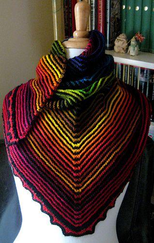 Ridge and Furrow Rainbow Triangular Shawl