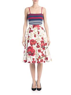 Dolce & Gabbana - Striped Knit Tank - Pleated Floral-Pint Skirt