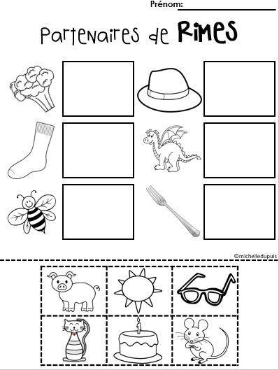 La rime est une composante importante dans la conscience phonologique. Cette ressource contient: Quatre pages «Couper-Coller» qui permettront aux élèves de pratiquer les rimes. Les élèves doivent découper les images au bas de la page et les coller près d'un partenaire qui rime.