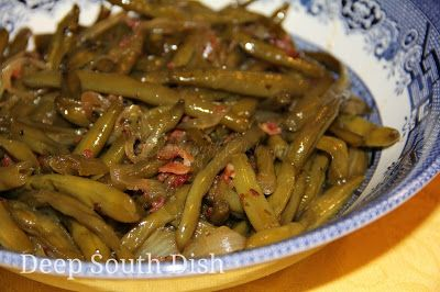 Unlike the slower, long stewed version of southern green bean preparation, this method is a quick fix version, using onion and bacon for seasoning, and fitting for fresh, frozen and even canned green beans. Add in some chunks of new or small red potatoes for a change.