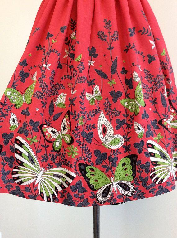 50s Red Butterfly Border Print Skirt / 1950s Vintage Novelty
