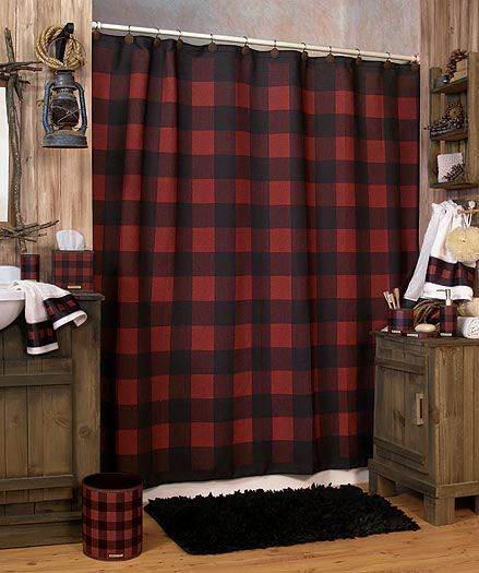 buffalo-plaid bathroom.- really for if I have like a vacation home in the woods or something like that
