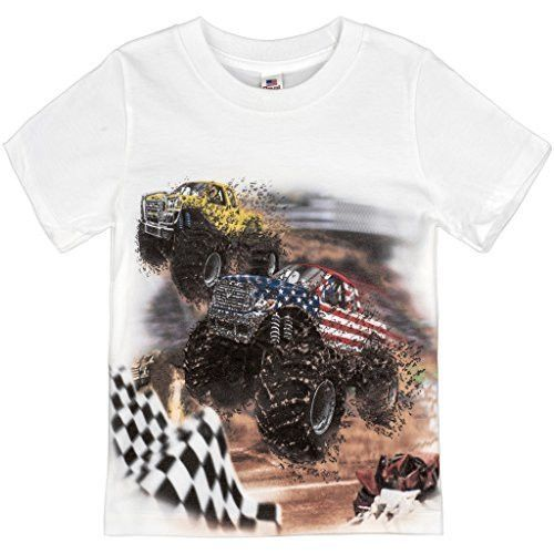 These kids shirts showcase monster trucks blasting through mud and dirt at a monster truck rally. Every detail is captured with care just for that little monster truck enthusiast in your family. - Our