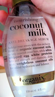 Organix Coconut Milk Serum.It's good for curly hair, a little goes a long way. I put a little in my hair when I scrunch it with my hair mousse.