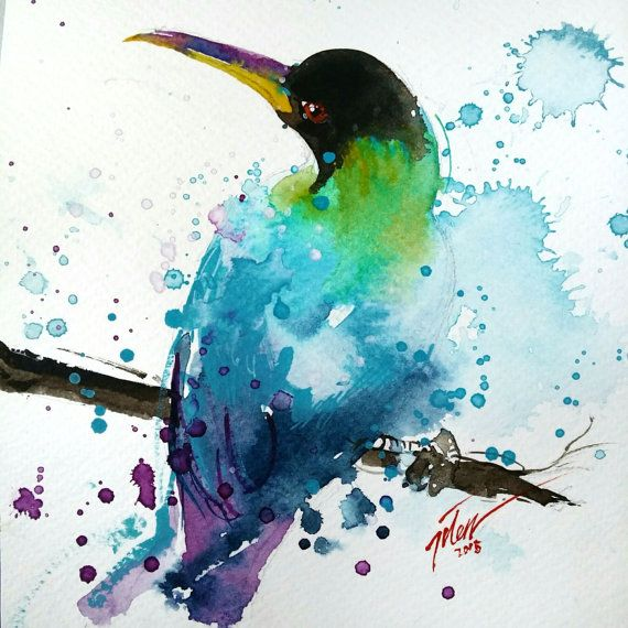 """""""Green Honeycreeper original painting by Tilen Ti 6x6=66 series Mixed media 15 x 15cm  The green honeycreeper (Chlorophanes spiza) is a small bird in"""