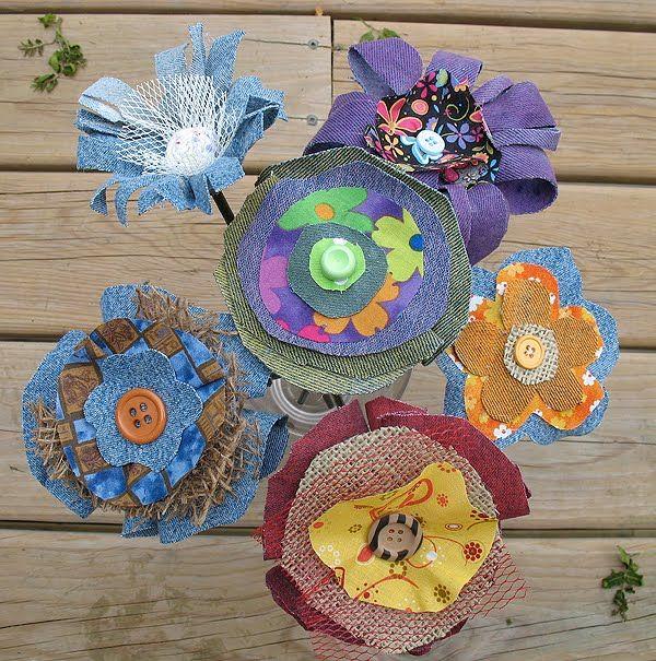 Denim Fabric Flowers   Crafts by Amanda