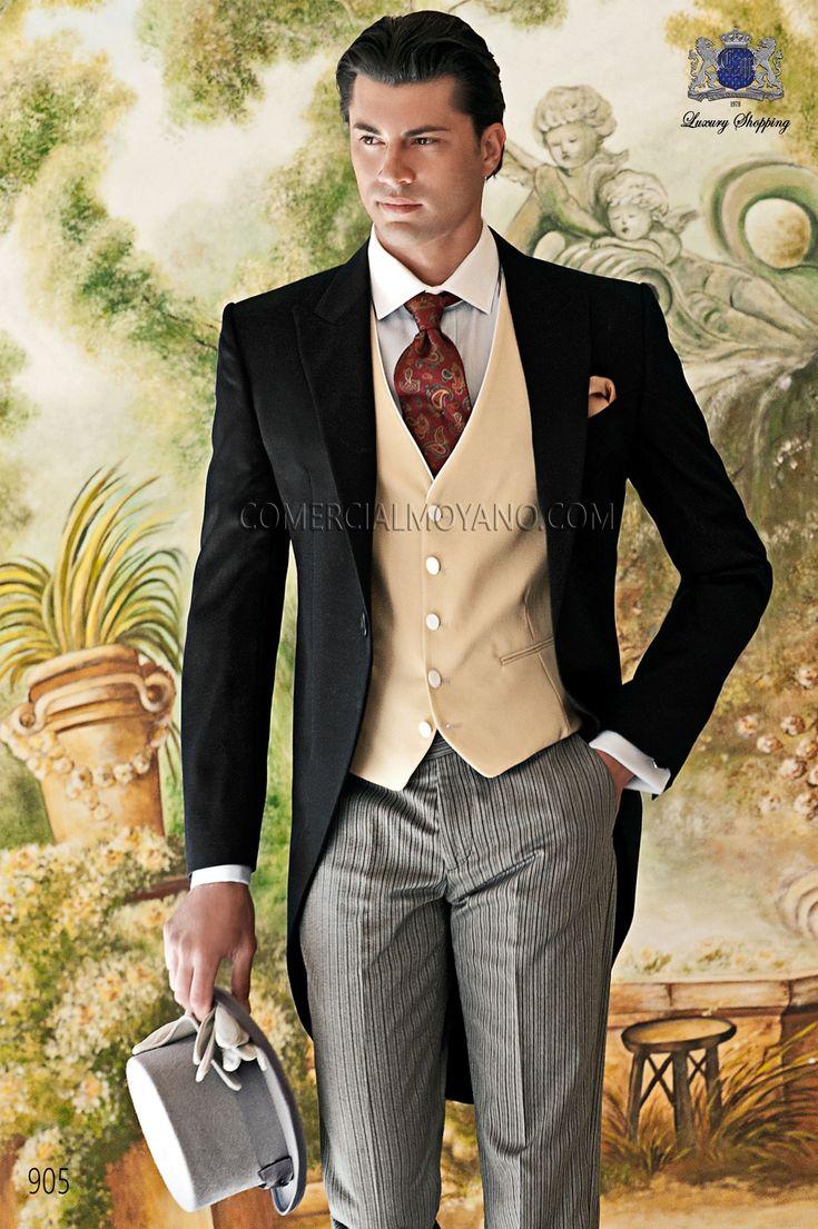 italian men wedding suits gentleman collectio wedding suits Italian bespoke wedding morning suit black coat and diplomatic pants style Ottavio Nuccio