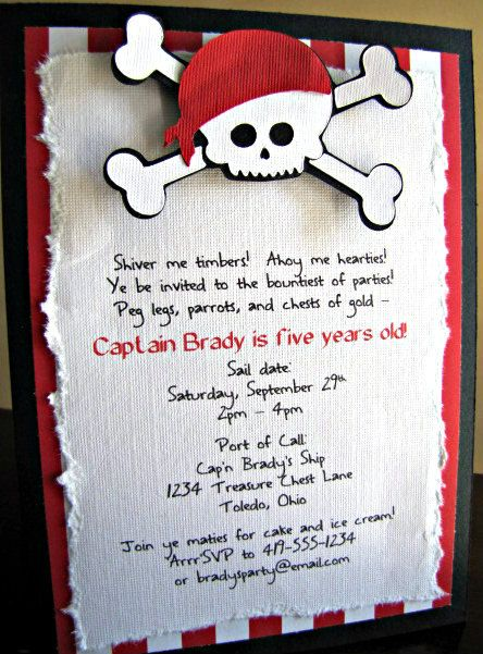 Different invitation, but I like some of the catchy words for our invitation. Pirate Party Invitation - Shiver Me Timbers. $2.50, via Etsy.