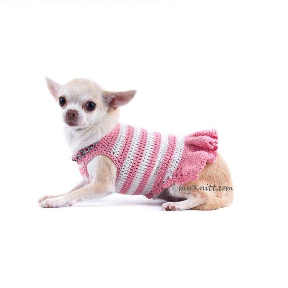 Pink Dog Dress Peach Diamond Necklace Pet Accessories by myknitt