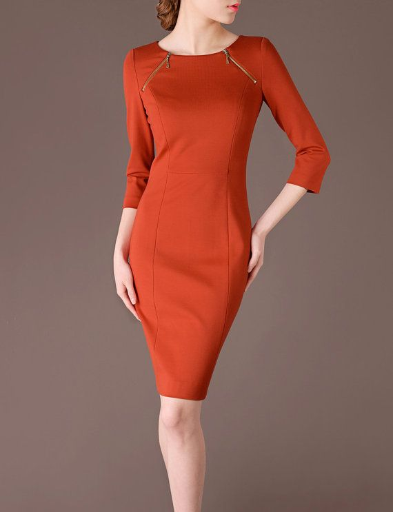 Orange Dress Fall Fashion Elegant O Neck Three by chiefcolors