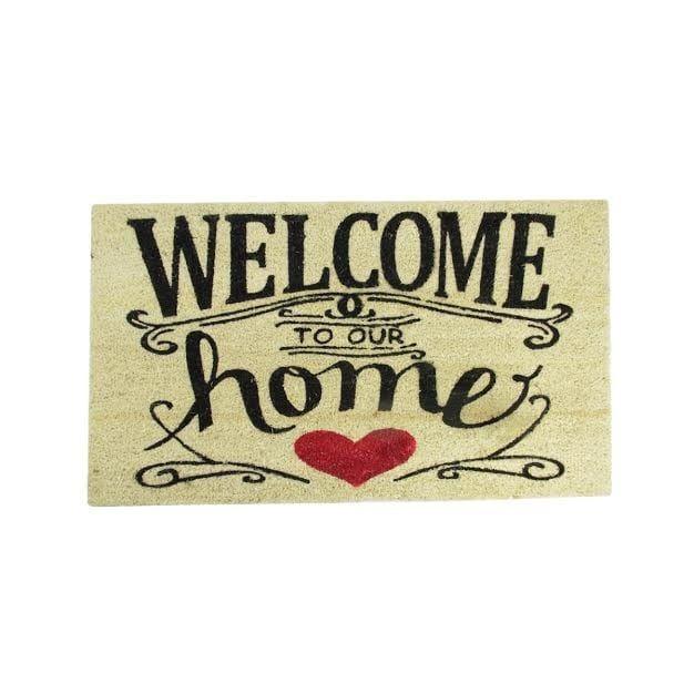 "Welcome to Our Home Decorative Coir Outdoor Rectangular Door Mat 30"" x 18"", Black"