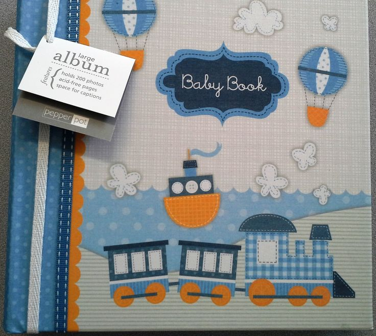 Baby Boy Once Upon A Time Blue Linen Large Photo Album by Pepper Pot