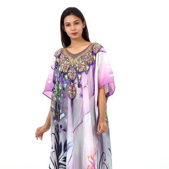 New 100% Silk kaftan swaroski beads digital print full length