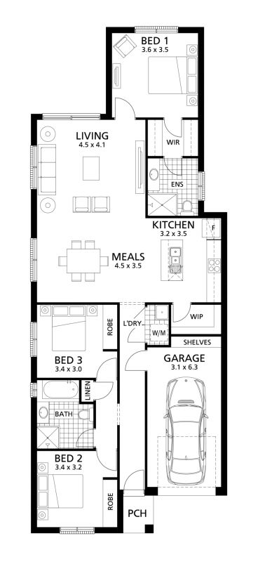 The Cambridge 148 is a classic design with the master suite positioned at the rear and separate open plan family living space.