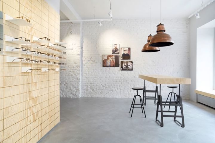 Interesting way to create patterned tile look for plywood - Viu Eyewear Store, Munich – Germany » Retail Design Blog