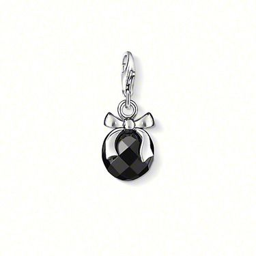 THOMAS SABO Charm pendant with lobster clasp, 925er Sterling silver, white facetted obsidian, size: 1.5 cm