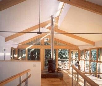 Exposed trusses with clerestory windows in my home for Clerestory roof truss design
