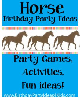 Horse theme birthday party ideas for boys and girls!  Fun ideas for horse themed party games, activities, party food, favors and more! http://www.birthdaypartyideas4kids.com/horse-party-ideas.htm  For kids, tweens and teens ages 1, 2, 3, 4, 5, 6, 7, 8, 9, 10, 11, 12, 13, 14, 15, 16, 17 and 18 years old.