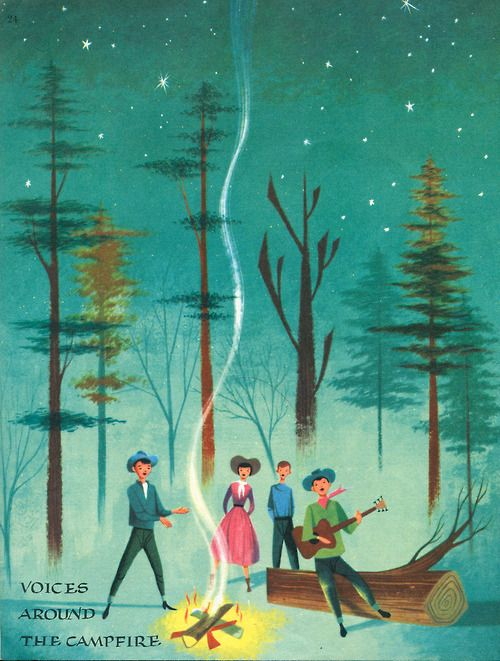 newhousebooks:  Campfire, fromVoices of America, illus by Robert J. Lee, 1957