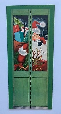 Rare Vintage Christmas Card Santa Claus Telephone Booth Present Tree Reindeer A+
