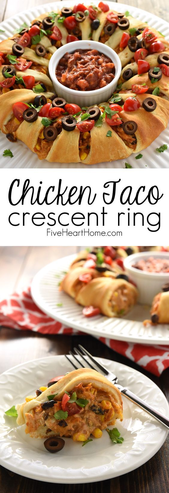 Chicken or Turkey Taco Crescent Ring ~ a delicious way to use up leftover chicken or holiday turkey...mixed with black beans, corn, and cream cheese, flavored with taco seasoning, and wrapped in light, flaky crescent roll dough for an easy yet impressive appetizer or dinner!   FiveHeartHome.com