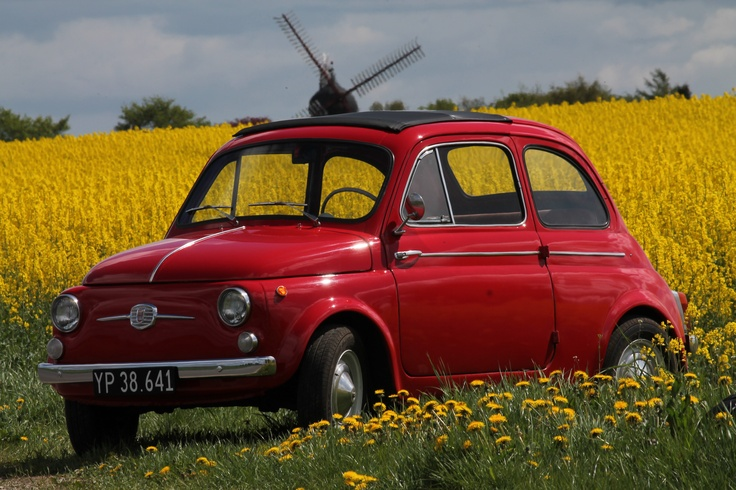 Fiat 500 1964 with Uldum mill, Denmark in the background